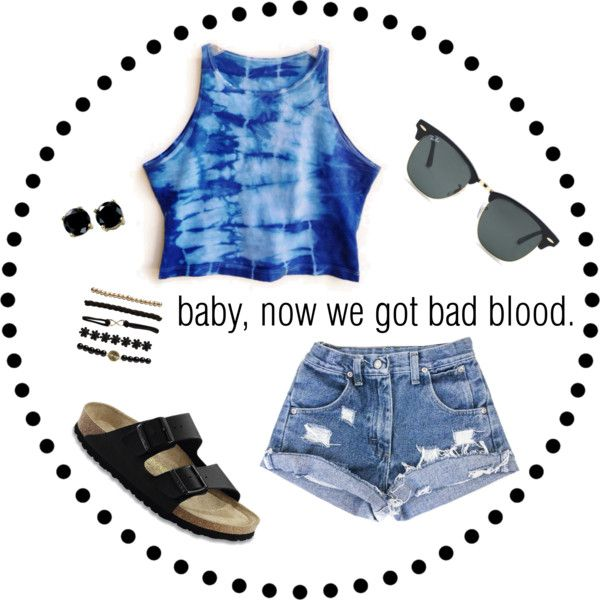 Baby now we got bad blood by lauryntamia on Polyvore featuring polyvore, fashion, style, Birkenstock, B. Brilliant, Wet Seal, Ray-Ban, Summer, outfit, birkenstock and tiedye
