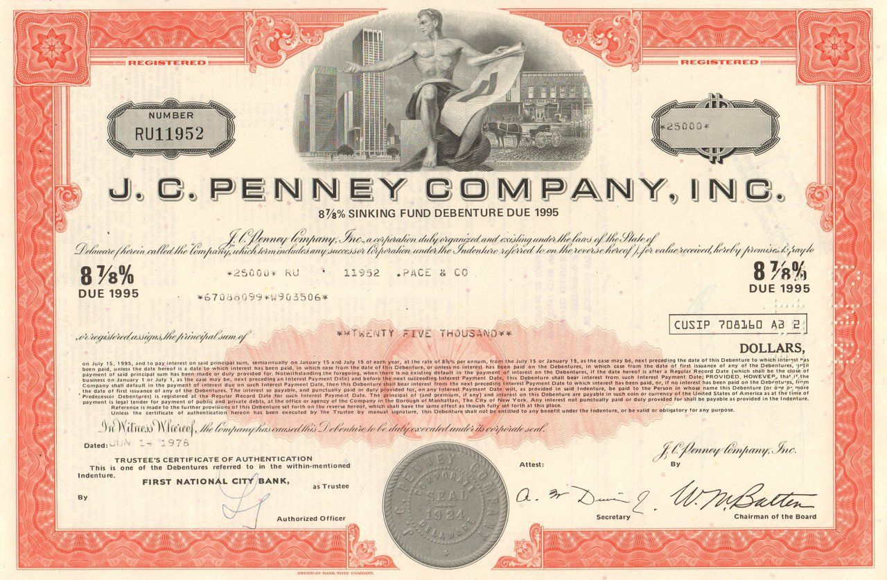 J. C. Penney certificate 1970's (retail chain) Going to