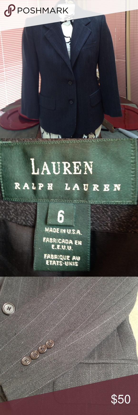 """Ralph Lauren size 6 classic blaZer This blazer is 96 percent wool and 4 percent nylon. The shoulders have some padding and it is around 21"""" from top of shoulder to end of sleeve . Is beautiful Ralph Lauren Jackets & Coats Blazers"""