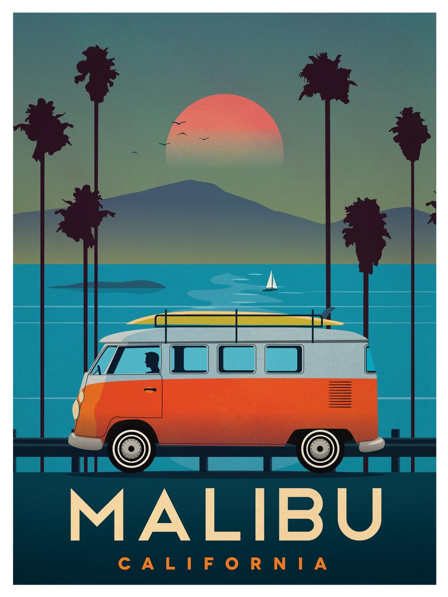 Vintage MALIBU Travel Retro Posters Prints Art Tourism Holiday Home Decor