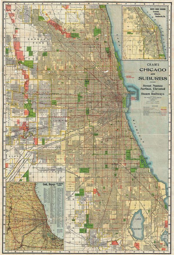 1920 Cram Map or City Plan of Chicago, Illinois | chicoago