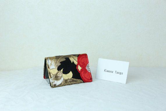 Japanese business card case red blossoms kimono business card japanese credit card case red blossoms kimono by kimonotango colourmoves