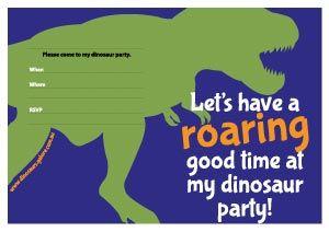 Free Printable Dinosaur Birthday Party Invitation Designs