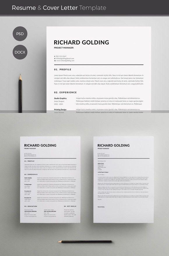Word Resume  Cover Letter Template Resume Templates Pinterest
