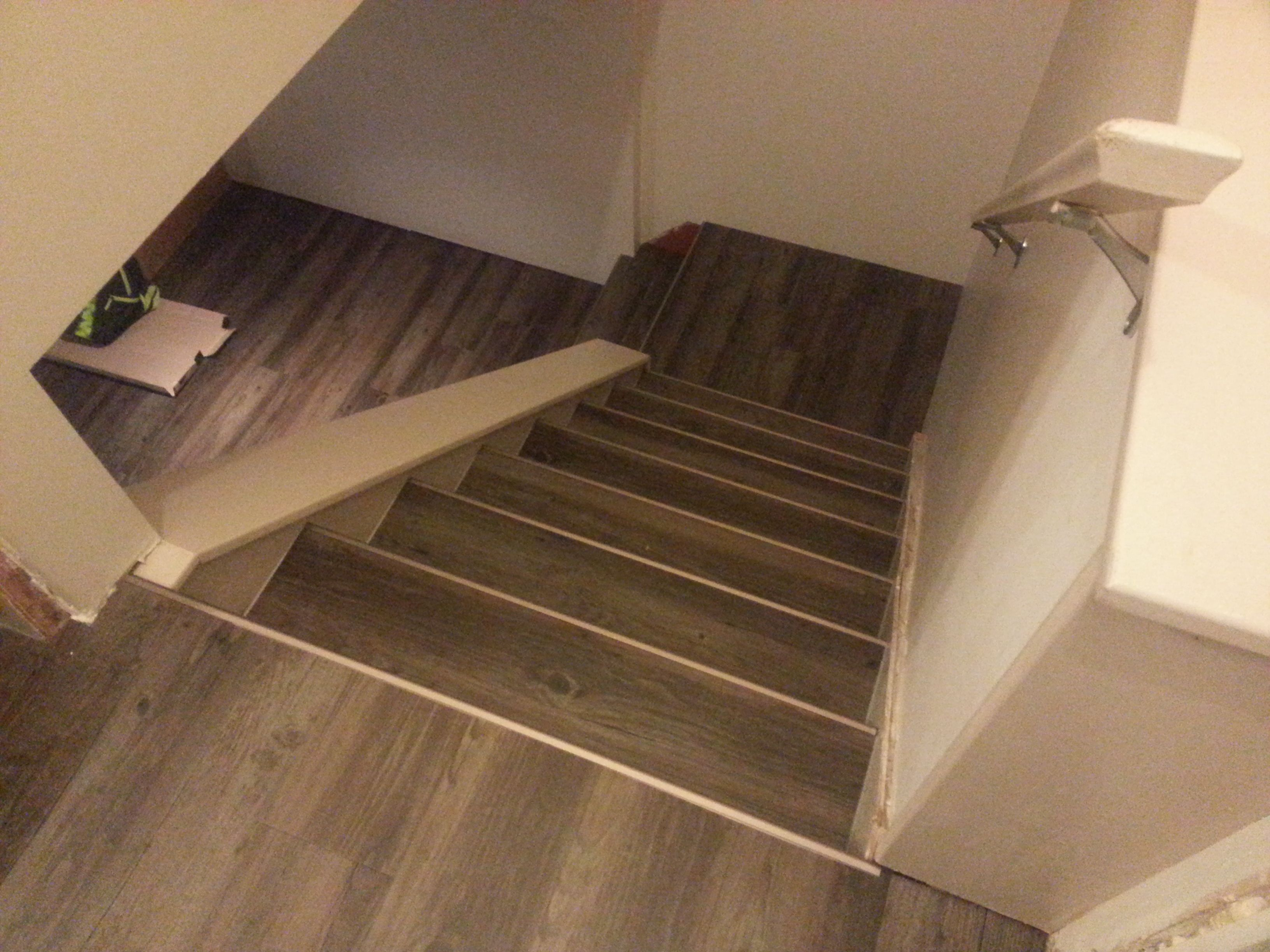 Drop Done Luxury Vinyl Plank In Eastern Township With Metal Insert Stair Nosing Stair Nosing Laminate Stairs Stairs