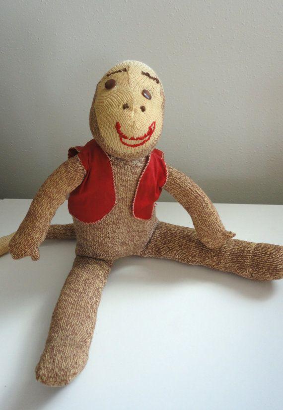 Vintage Sock Monkey Stuffed Animal I Just Really Like This