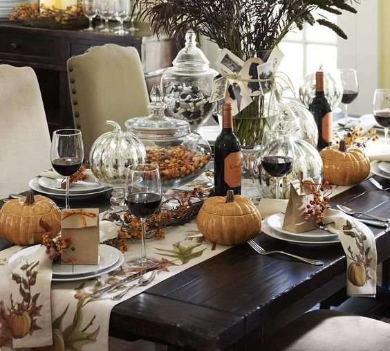 traditional Thanksgiving table decor with porcelain pumpkins and