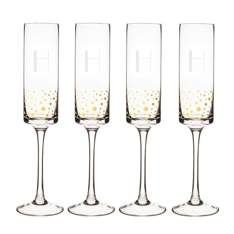 Cathy's Concepts 4-pc. Monogram Gold-Dotted Champagne Flute Set, Multicolor