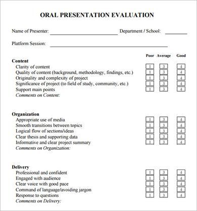 Oral Presentation Evaluation Form  Rubrics