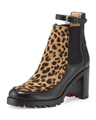 Yetata Calf-Hair Chelsea Boot, Brown by Christian Louboutin at Neiman Marcus.