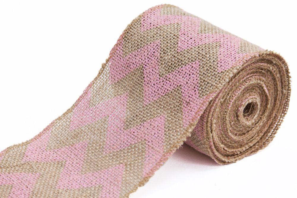 "Burlap+Chevron+Printed+Ribbon+5.5""+x+10+yards++Pink+"