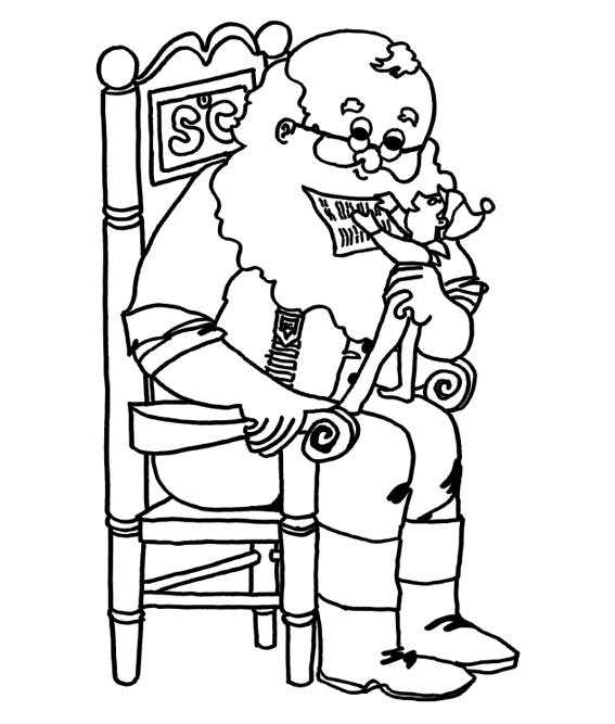 Elf On A Shelf With Santa Coloring Sheet Santa Coloring Pages Bear Coloring Pages Coloring Pages
