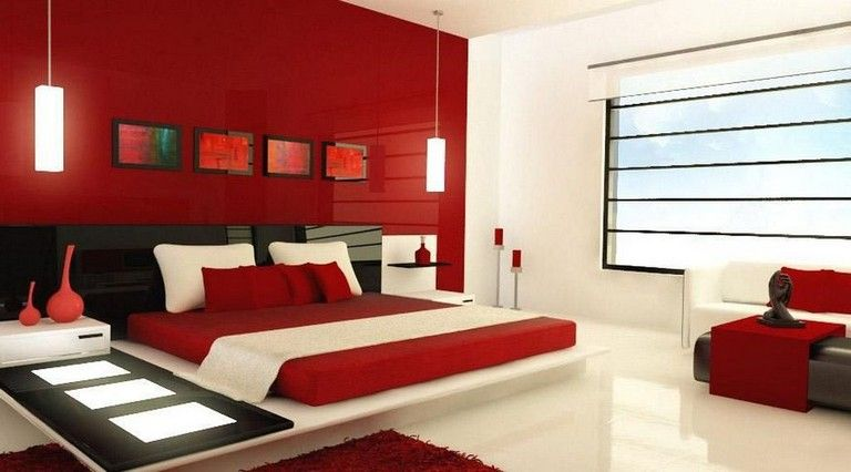 28 Lovely Romantic Red Bedroom Decorating Ideas For Couples Bedroom Bedroomdecor Bedroomideas Bedroom Red Red Master Bedroom Red Bedroom Walls