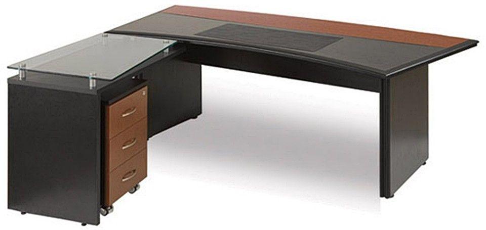 Mesa em madeira e vidro no formato em l para escritório