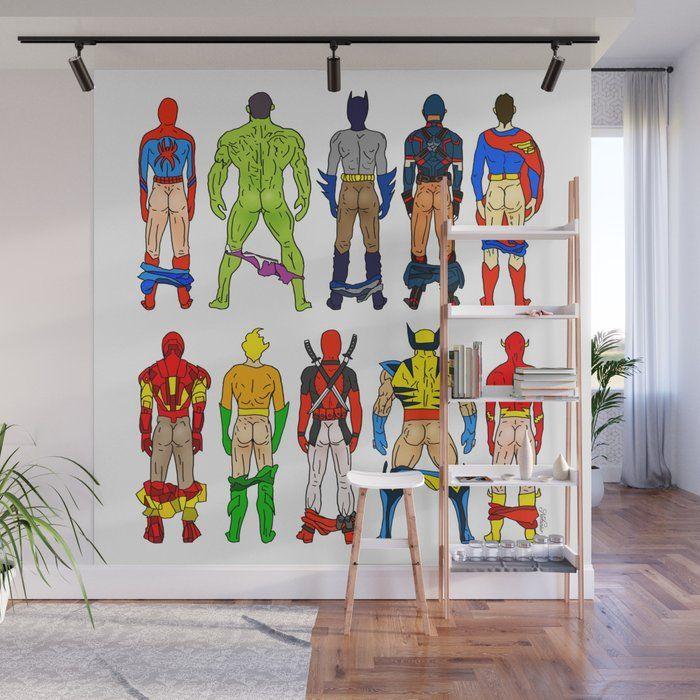 Superhero Butts Wall Mural #mural #wallmural #society6 # ...