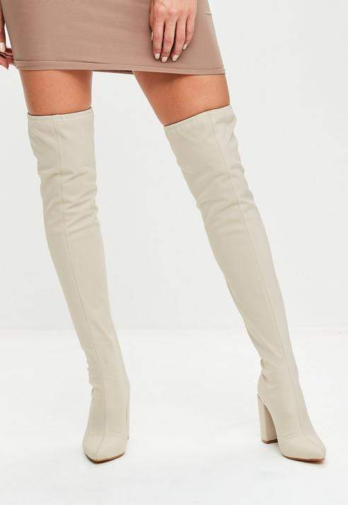 ae6a060b900 Missguided Cream Neoprene Over The Knee Boots