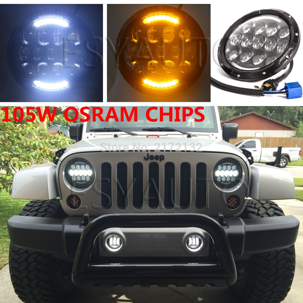 146.26$  Buy here - http://aliwr7.shopchina.info/1/go.php?t=32679060207 - 2pcs Hottest 7 inch round hi/lo led head light 105w daytime running headlight H4 H13 for jeep wrangler  #magazineonlinebeautiful