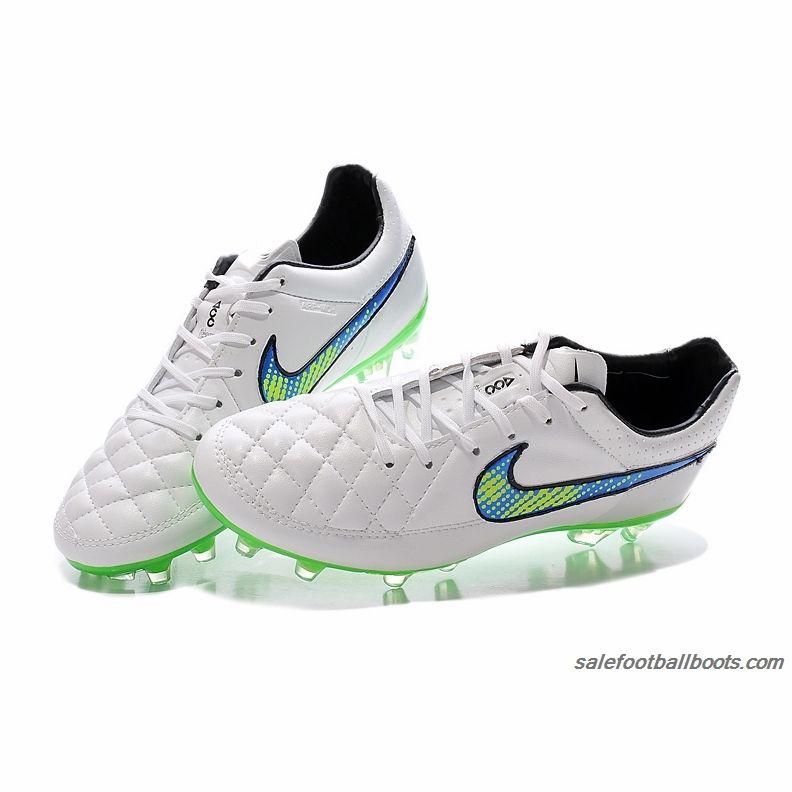 Nike Tiempo Legend V FG White Blue Green $63.99