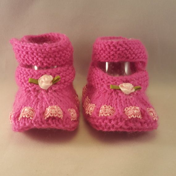 8 89 Https Www Etsy Com Listing 271163775 Pink Baby Booties With
