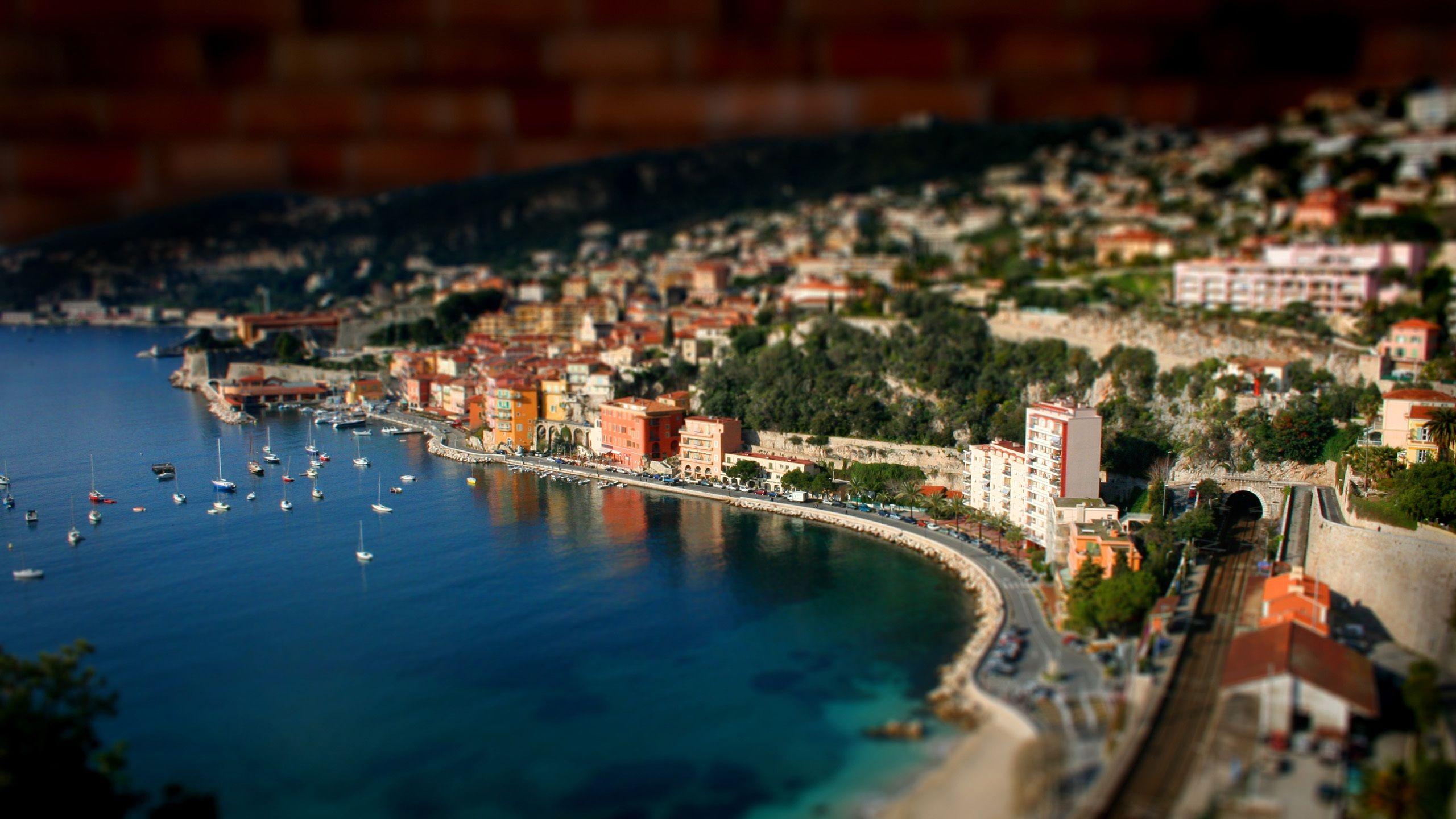 ポートミニチュアの風景写真 壁紙 2560x1440 風景写真 ジオラマ 風景
