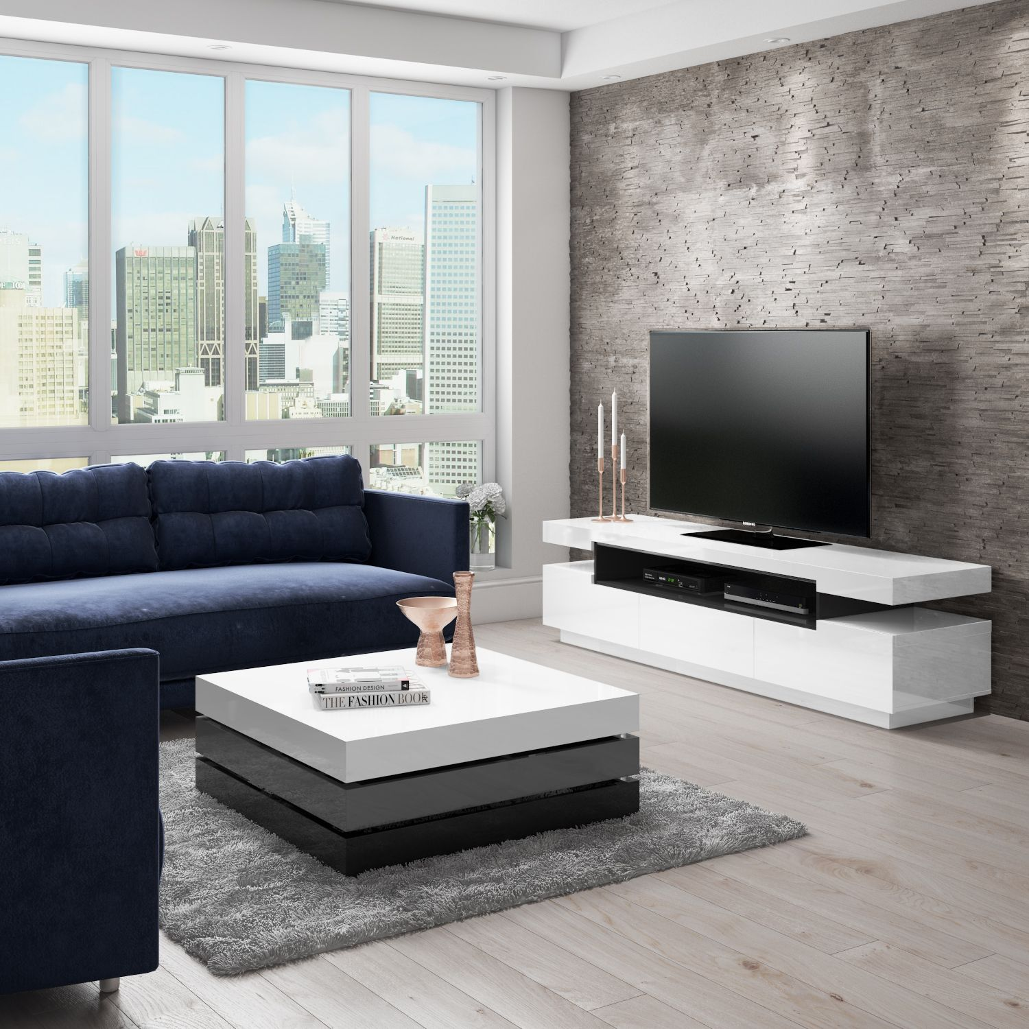Harlow White High Gloss Coffee Table With Grey Rotating Storage Tiff038 Jyoti In 2019 Coffee Table With Storage Storage Light Space