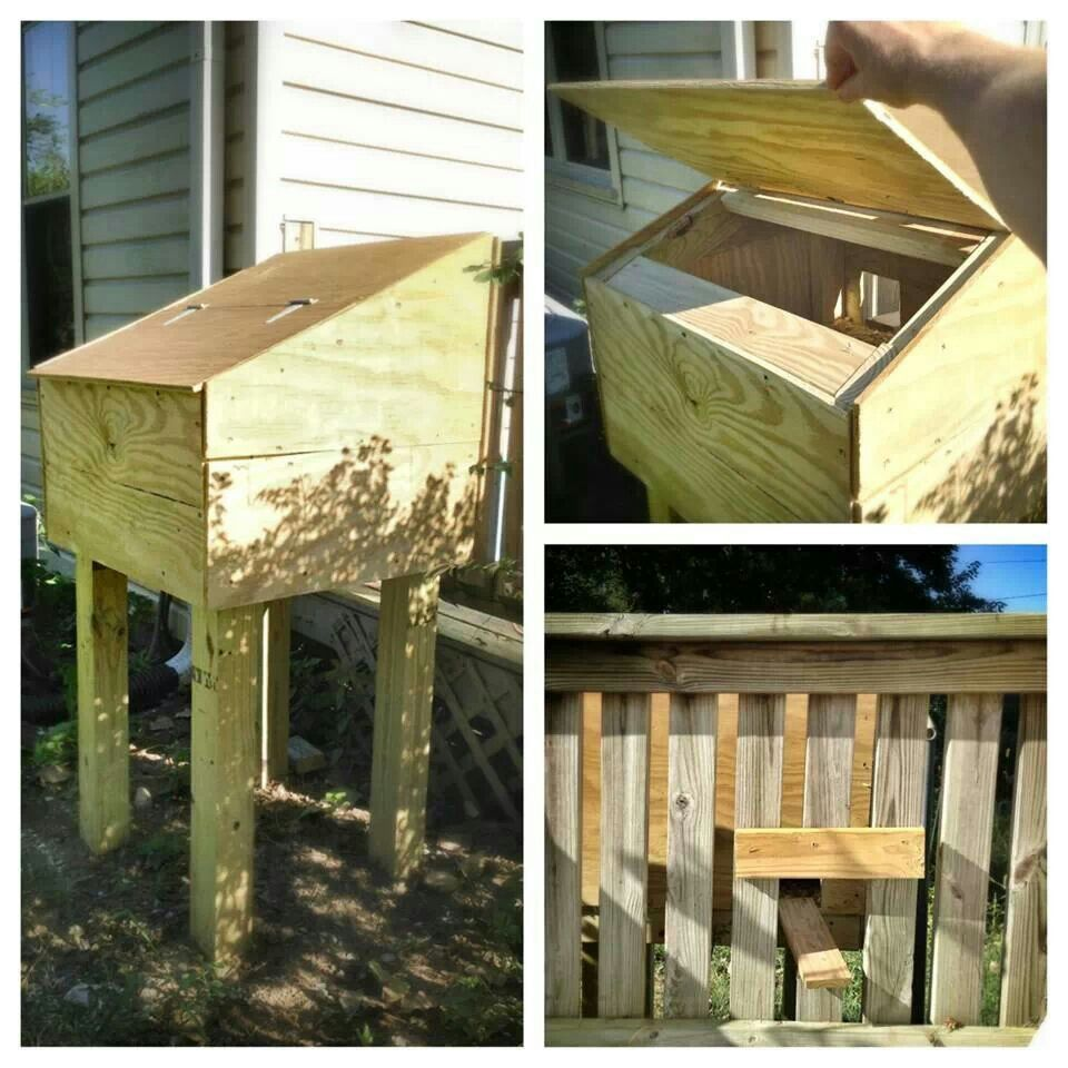 Elevated winter cat shelter! Feral cat shelter, Cat