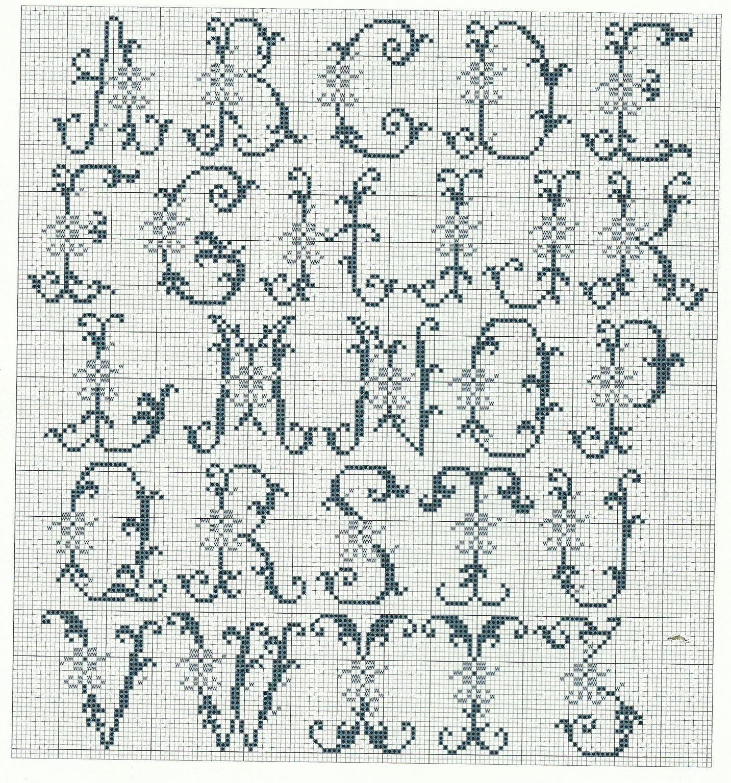 Il mio ricamo ried n 01 letterine punto croce cifre e for Ricamo punto croce lettere