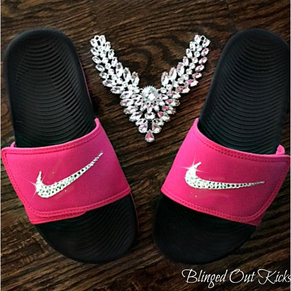 ac572c92d Nike Womens Kawa Adjustable Slides Vivid pink black With Swarovski... ( 88)  ❤ liked on Polyvore featuring shoes