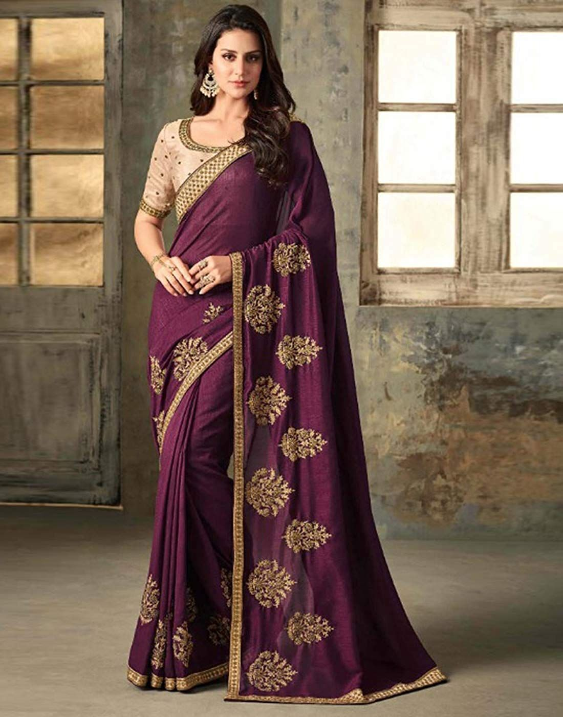 1f1421e0537f4f DesiButik s Party Wear Lovely Wine Silk Saree  Amazon.in  Clothing    Accessories