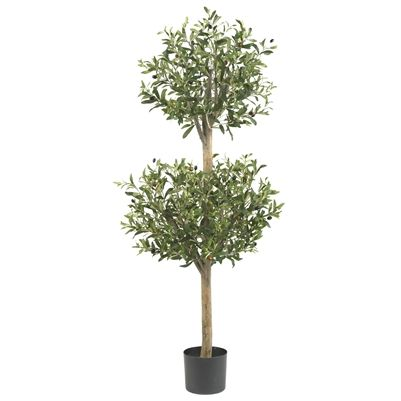 4.5' Olive Double #Topiary Silk Tree.  Delicate, yet sturdy; whimsical yet stately; this Olive Topiary fits snugly into any décor, and announces nature's majesty, all year round. The 1794 leaves are divided into two faux growth points from the stately trunk, and splay about in all directions, giving a casual appearance that perfectly contrasts the neatness of the two groups. Makes an ideal doorway accent or conversation piece. #olivetree #silktree
