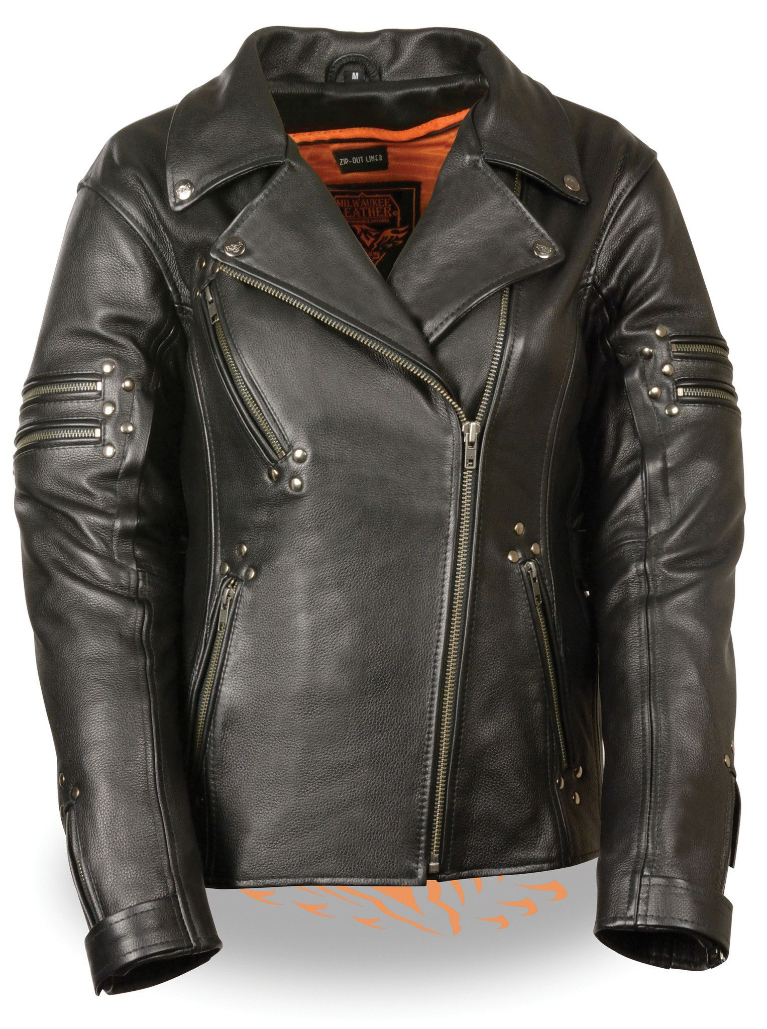 Women's fitted leather jacket w/ rivet detailing Black