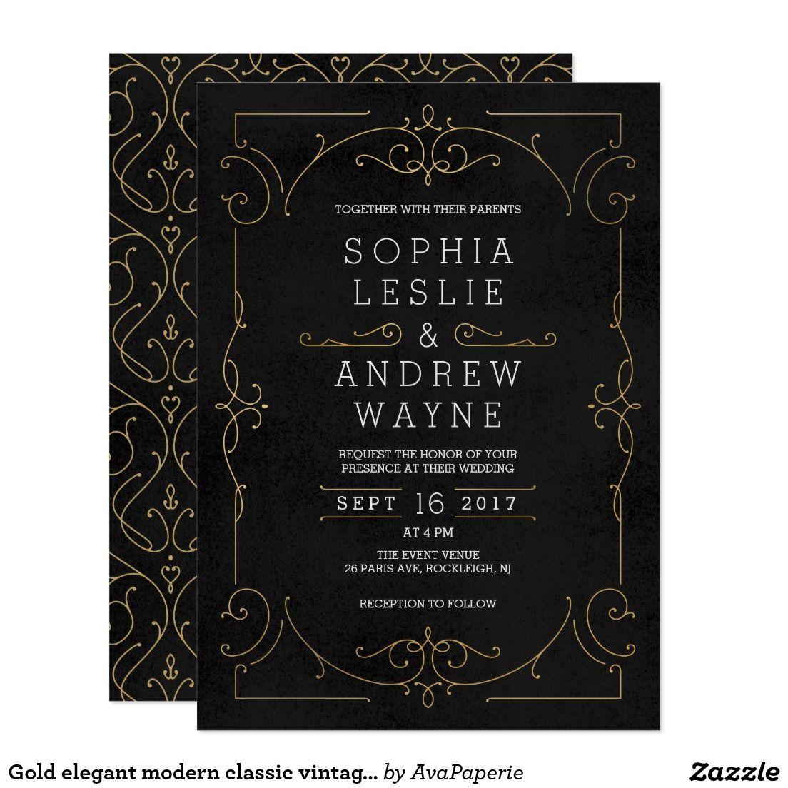 Gold elegant modern classic vintage wedding card | Modern classic ...