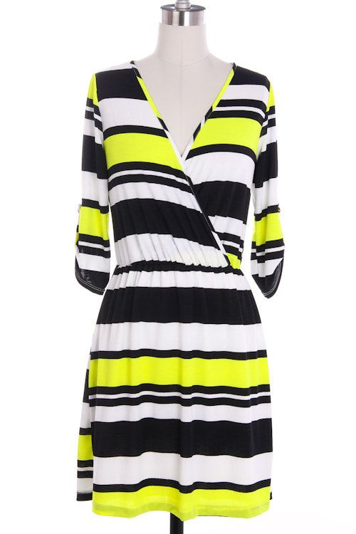 Striped neon dress short summer dress Yellow Black dress multicolored color block dress via Etsy