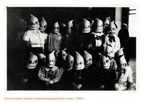 school children dressed in handmade paper ghost masks, c.1900s ...
