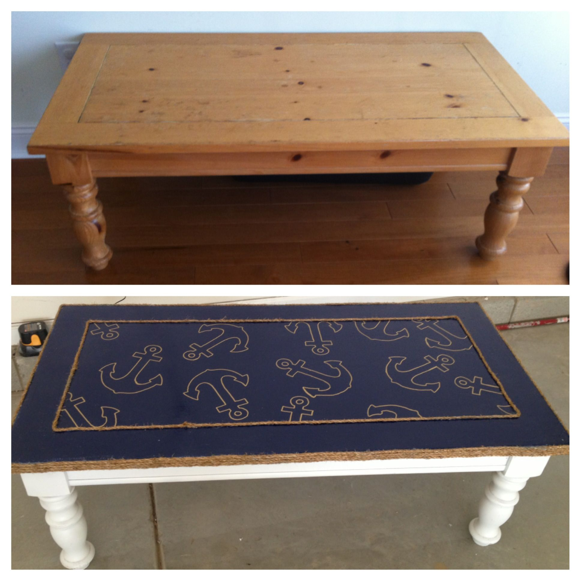 Nautical themed up cycled coffee table Decor ideas