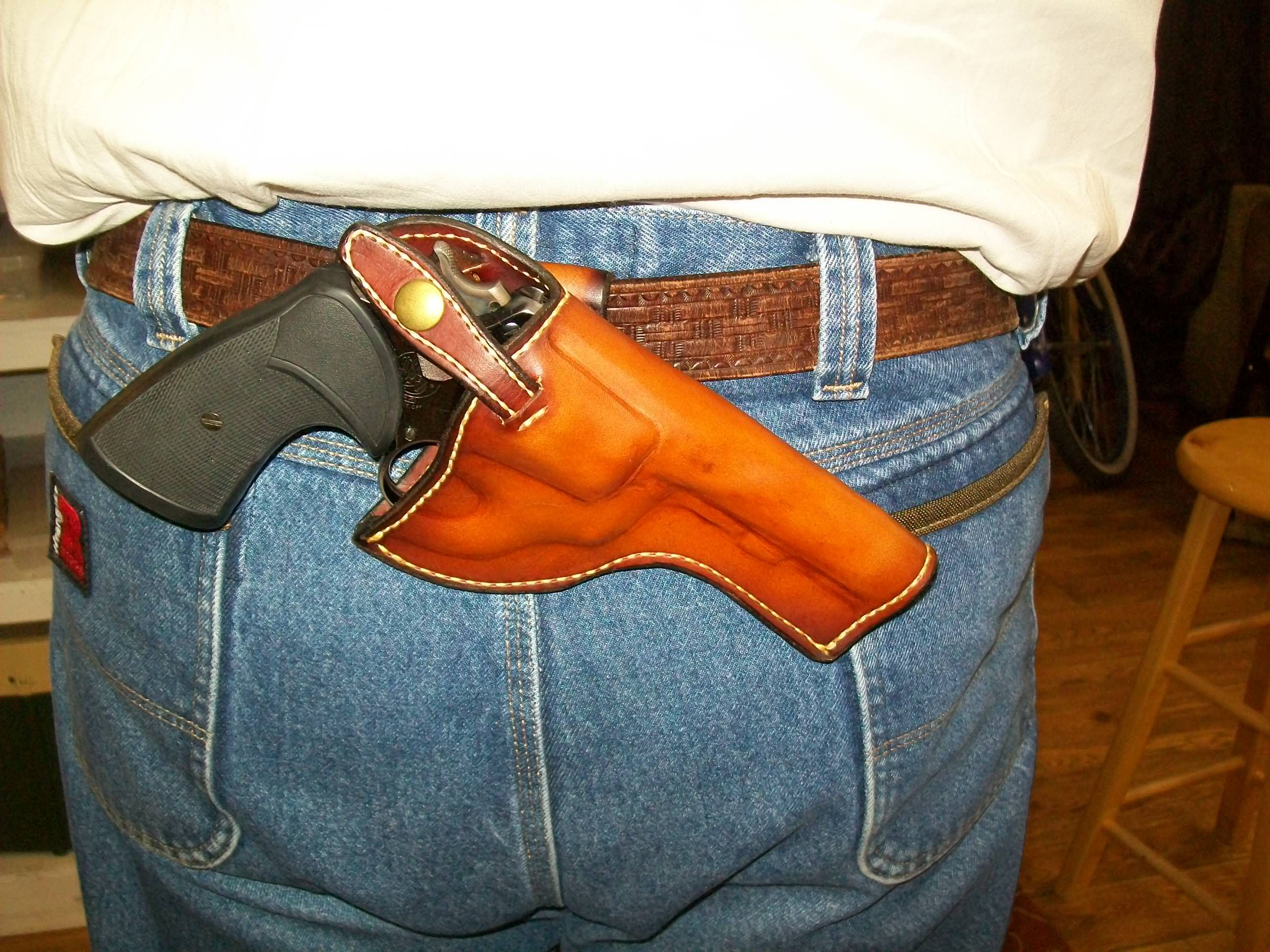 """""""SOB"""" (small of back) holster for a S&W revolver, made at Boulder Creek Saddle Shop, Kettle Falls, WA."""