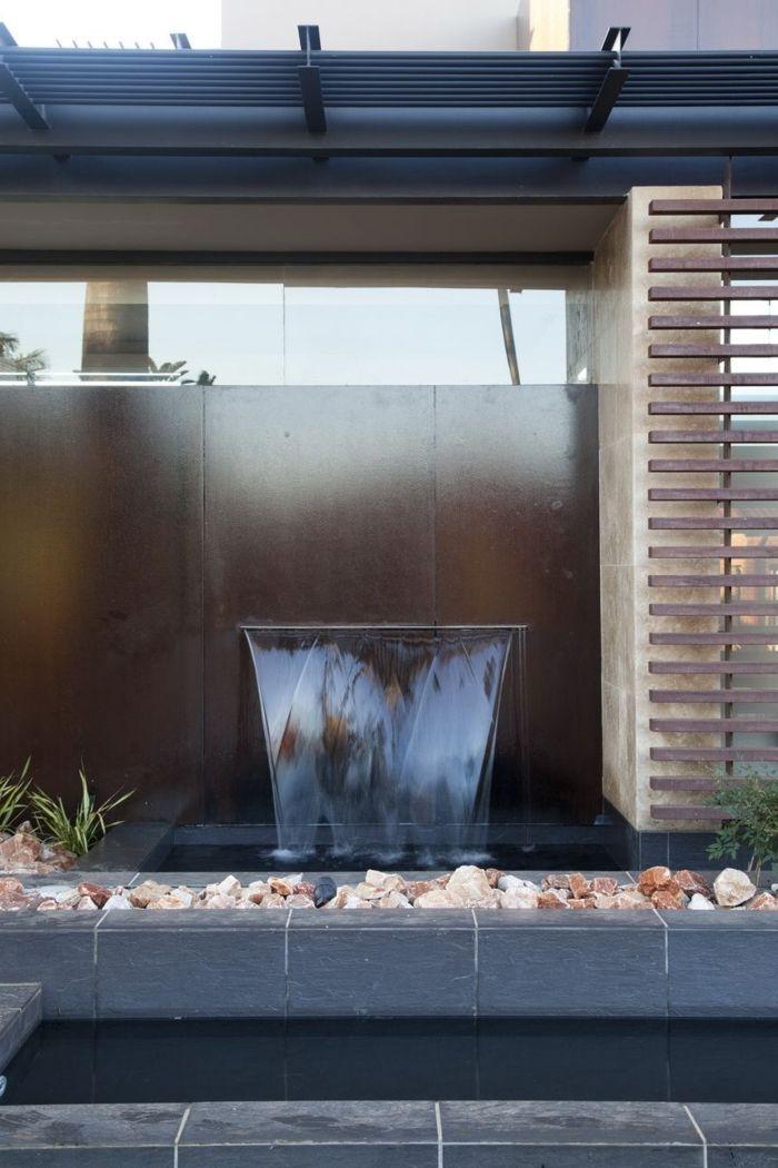 Wasserfall Im Garten Moderne Gartengestaltung Steine Wasser Pflanzen