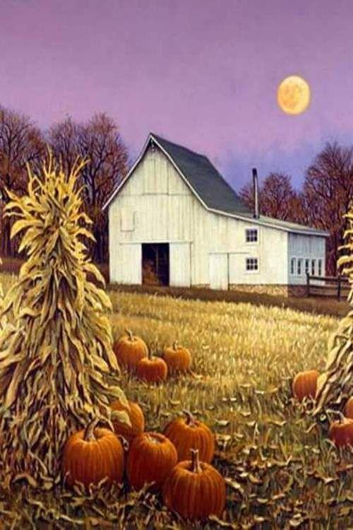 Fall Barn Painting Barn Painting Autumn Scenes Farm Art