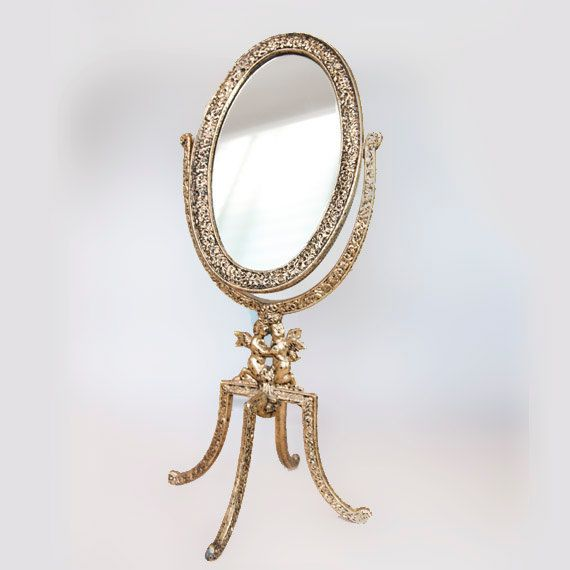 vanity mirror on stand. Makeup Mirror on Stand Vintage Brass Standing by CozyTraditions  Decorated