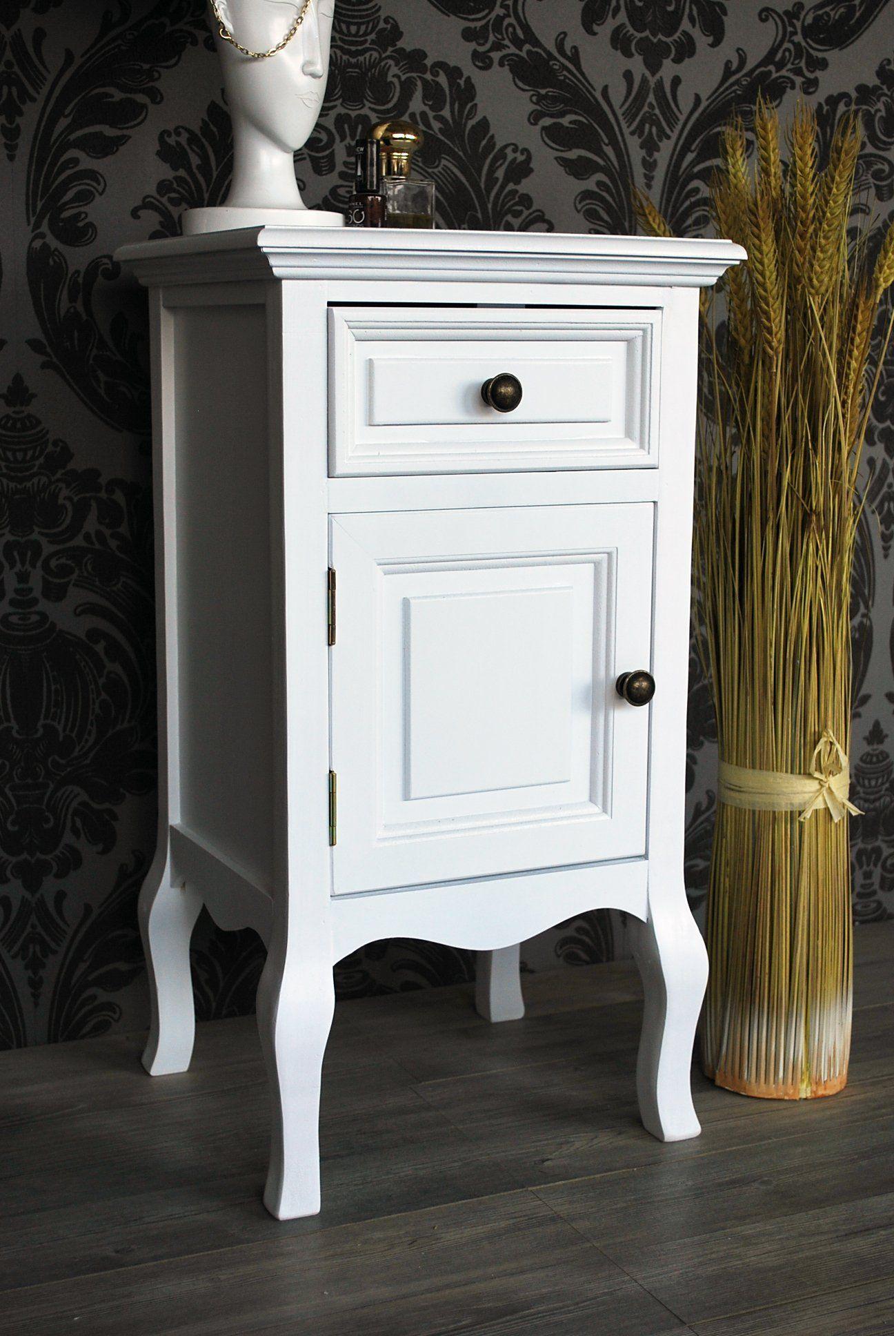 nachttisch kommode kleiner schrank nachttisch kommode wei shabby landhaus stil faux antique lfw. Black Bedroom Furniture Sets. Home Design Ideas