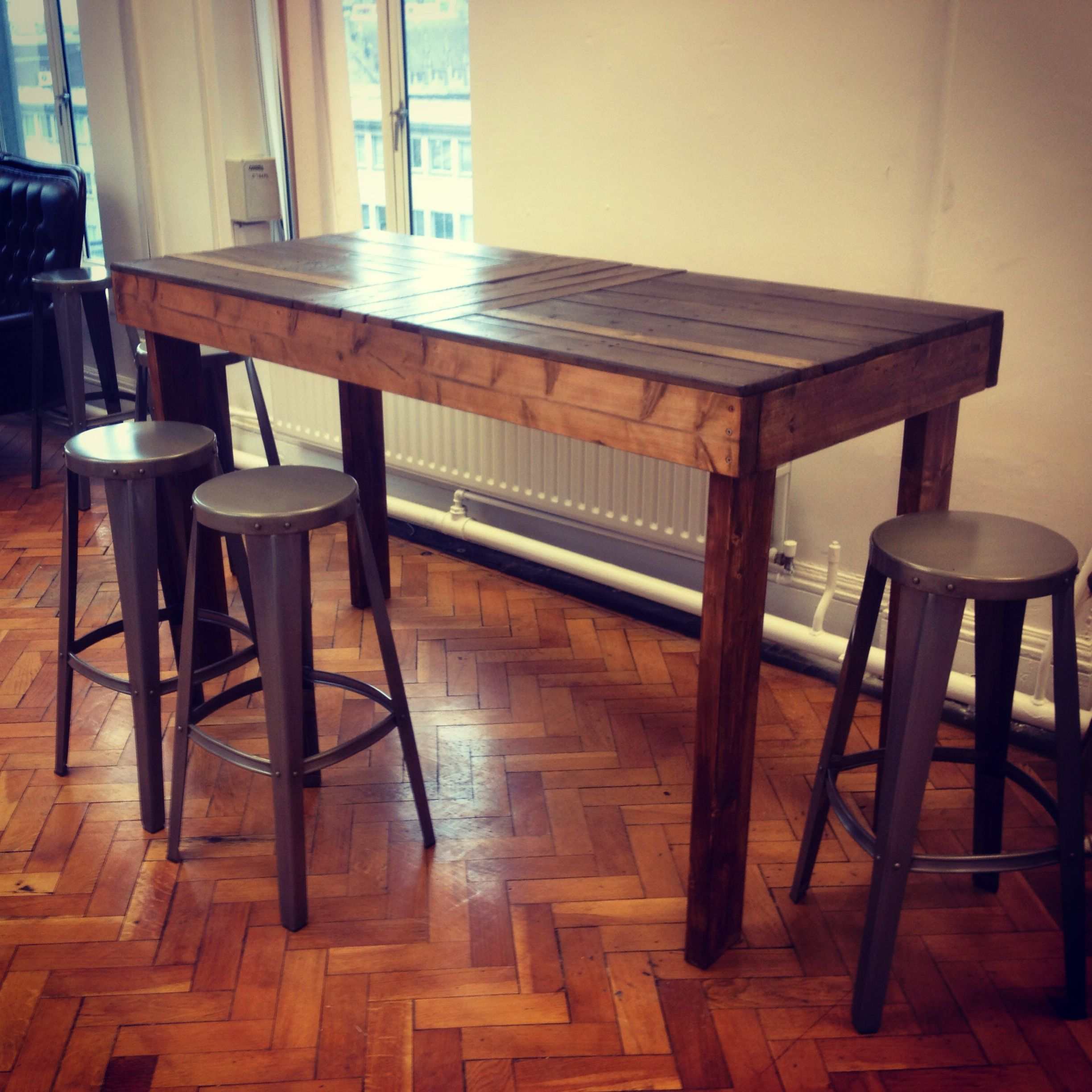 Tall table I made from pallets. Visit us at www ...