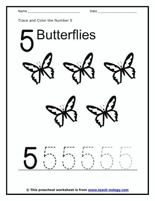 Color and trace the number 5 Number 5 Worksheets – Number 5 Worksheet