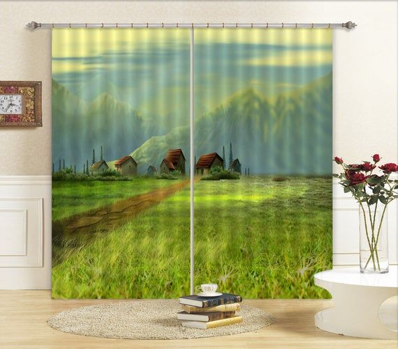 3D Houses With Mountain C489 Blockout Curtain Print Curtains Drapes Fabric Window