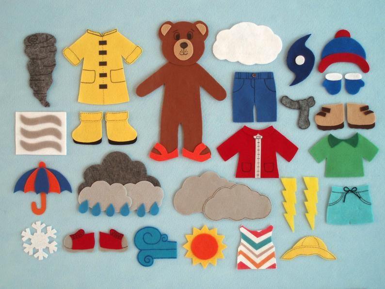 Weather Bear Felt Board Set/Weather Theme/Teacher Resource | Etsy