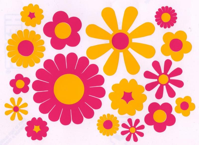 Hippy motors flower car stickers vw camper van decals window transfers pink yellow jpg