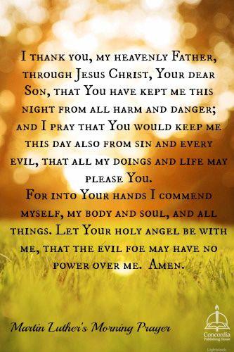 Martin Luthers Morning Prayer Uplifting Words Prayers Bedtime
