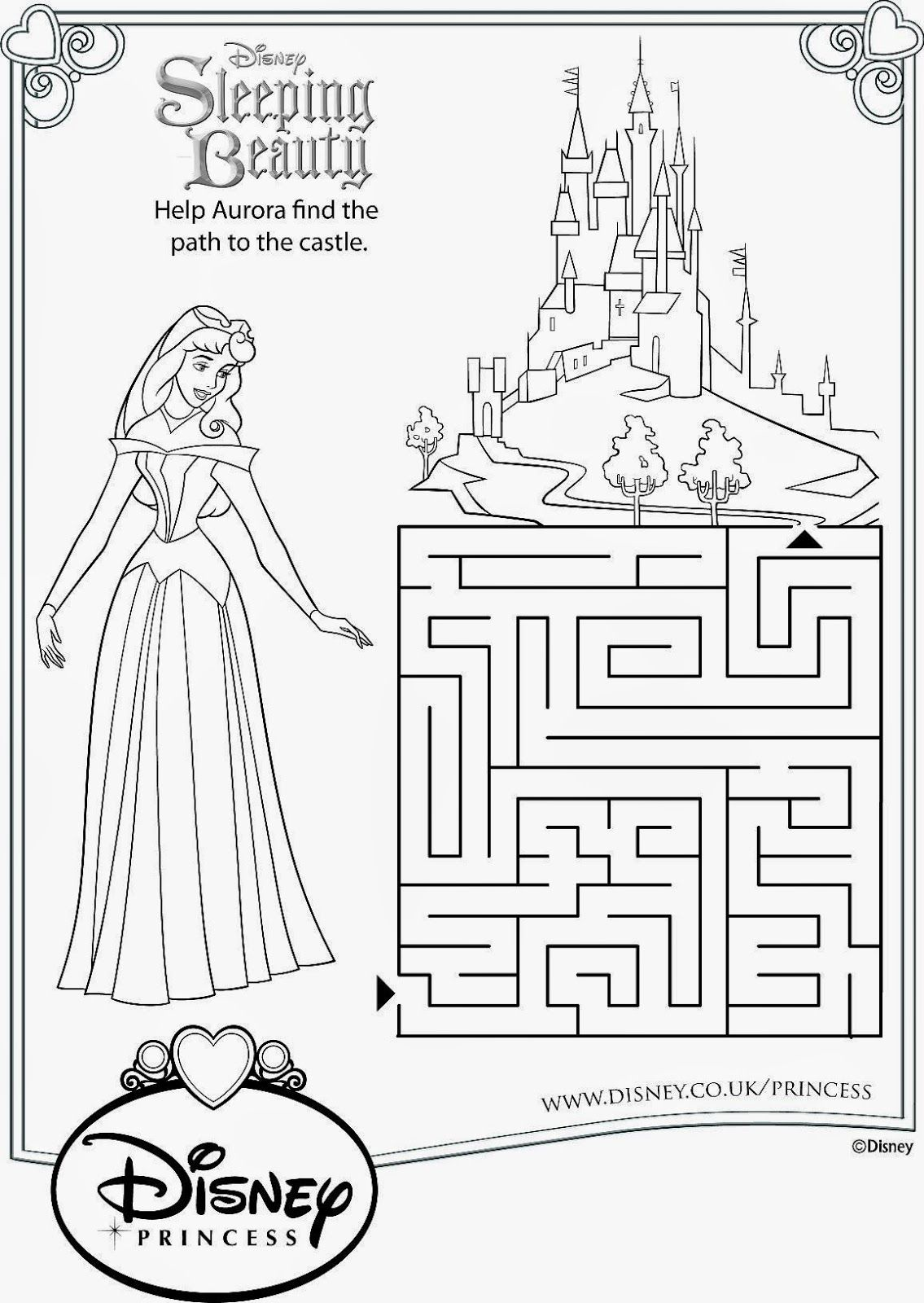 Sleeping Beauty Activity Sheets Free Printables Drawing