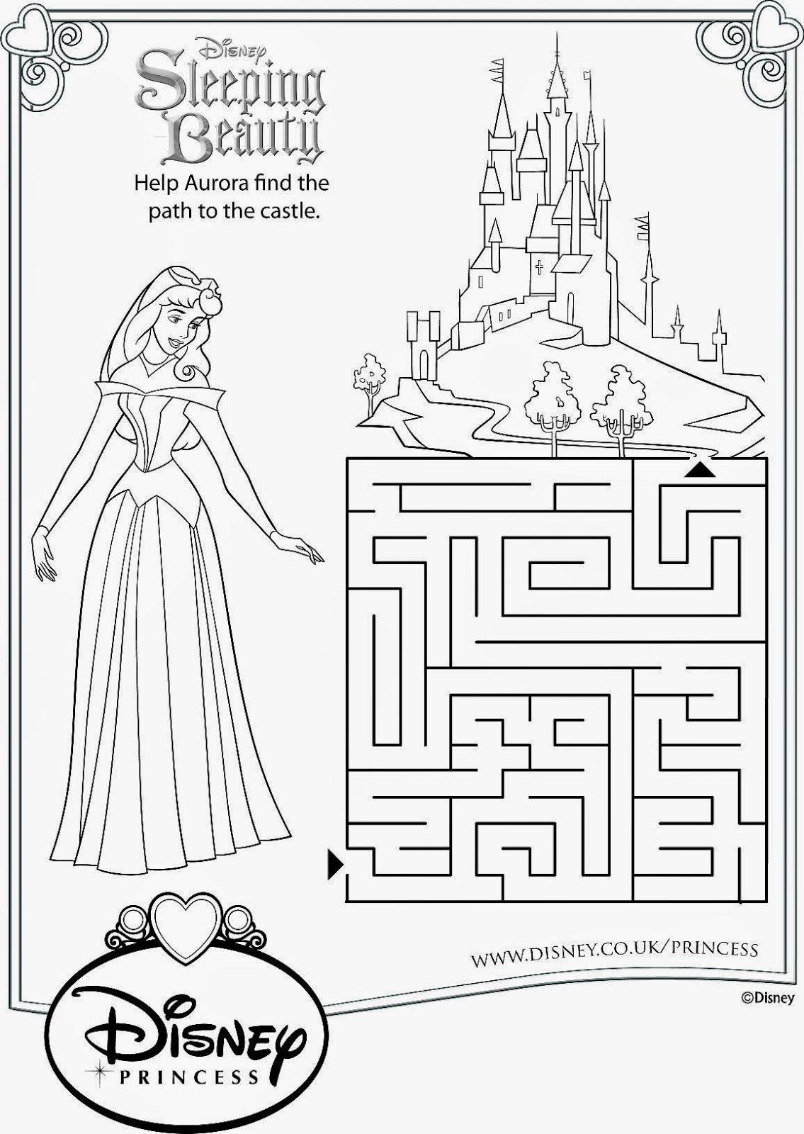Sleeping Beauty Activity Sheets Free Printables Drawing Colouring