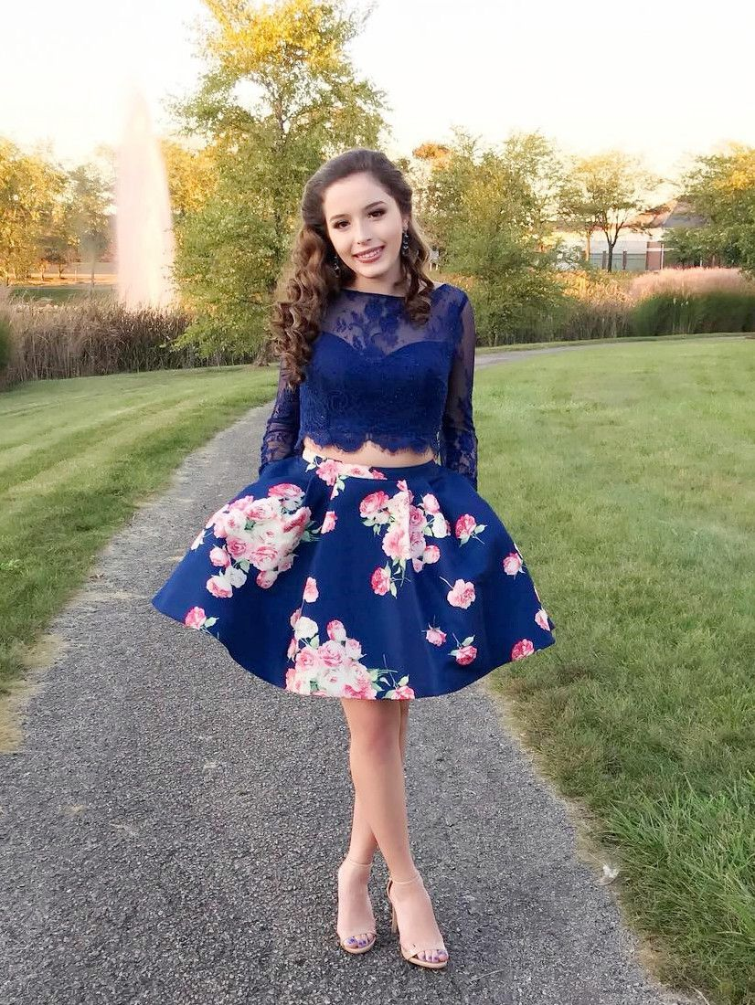 7740e7e03b Two Piece Long Sleeves Navy Blue Floral Short Homecoming Dress in ...