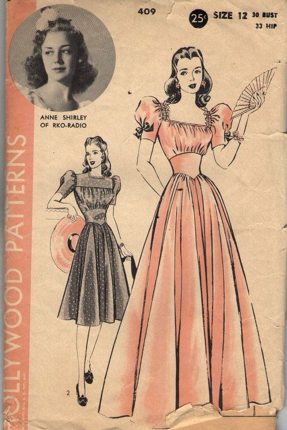 Vintage 1940s Hollywood Sewing Pattern 409- Anne Shirley of RKO ...